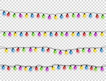 Bożenarodzeniowi jarzy się światła Girlandy z barwionymi żarówkami Xmas wakacje Bożenarodzeniowy kartka z pozdrowieniami projekta obrazy royalty free