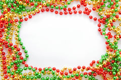 Bożenarodzeniowi koraliki rama Zdjęcie Stock