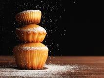 Bożenarodzeniowi muffins zakrywający sproszkowany cukier obraz stock