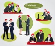 Bożenarodzeniowi nowy rok ludzie biznesu przy pracą Obraz Stock