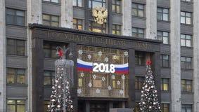 Bożenarodzeniowi nowy rok wakacje iluminacja i budynek stan duma Federacyjny zgromadzenie federacja rosyjska zdjęcia stock