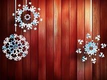 Bożenarodzeniowi płatki śniegu wiesza nad drewnianym. EPS 10 Obrazy Stock