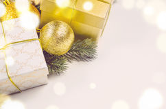 Bożenarodzeniowi prezentów pudełka, piłki i Obraz Stock