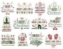 Bożenarodzeniowi prezent kart plakaty ustawiający Typografii dekoraci wakacje Szablon dla powitania Scrapbooking, gratulacje, zap ilustracja wektor