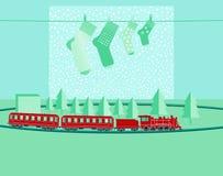 Bożenarodzeniowi prezenty z zabawka pociągiem Zdjęcia Royalty Free