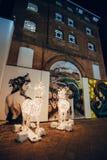 Bożenarodzeniowi reniferów światła na ulicie zdjęcie royalty free