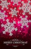 Bożenarodzeniowi sztandaru srebra płatki śniegu na czerwonym tle Obrazy Royalty Free