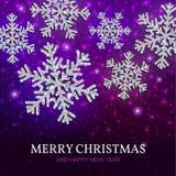 Bożenarodzeniowi sztandaru srebra płatki śniegu na purpurowym tle Zdjęcia Royalty Free