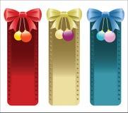 Bożenarodzeniowi sztandary z łękami i ornamenty w czerwieni, złota i błękita kolorach. Zdjęcia Stock