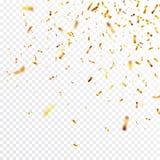 Bożenarodzeniowi złoci confetti Spada błyszczące confetti błyskotliwość w złocistym kolorze Nowy rok, urodziny, valentines dnia p ilustracja wektor