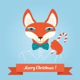 Bożenarodzeniowy śliczny lasowy lis głowy logo Wektorowy nowożytny modny modnisia lisa zwierzę w odziewa ilustracja wektor