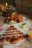 Bożenarodzeniowy śniadanio-lunch stół Obraz Stock