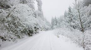 Bożenarodzeniowy śnieg zakrywająca tło droga Obraz Royalty Free