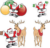 Bożenarodzeniowy Święty Mikołaj z ornamentami i reniferem Fotografia Stock