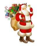 Bożenarodzeniowy Święty Mikołaj z workiem prezenty Obrazy Royalty Free