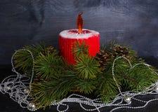 Bożenarodzeniowy świeczka tort z karmelu płomieniem dekorował z sosnowym tre zdjęcie stock