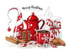 Bożenarodzeniowy życie, czerwony herbaciany garnek, kulisi, abstrakcjonistyczna choinka, szklany słój z cukierek trzcinami, cynam Obraz Royalty Free