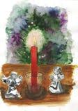 Bożenarodzeniowy abstrakcjonistyczny skład z świeczką Fotografia Royalty Free