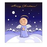Bożenarodzeniowy anioł z domami i śniegiem na tle ilustracji