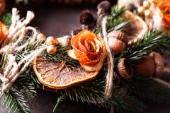 Bożenarodzeniowy aromatyczny eco wianek zdjęcie stock