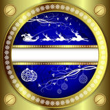 Bożenarodzeniowy błękitny projekt z złocistą granicą Zdjęcie Stock