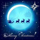 Bożenarodzeniowy błękitny skład z Święty Mikołaj na rogaczach i księżyc ilustracji
