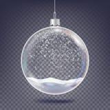 Bożenarodzeniowy balowy wektor Klasyczny Xmas dekoraci Drzewny Szklany element Olśniewający śnieg, płatek śniegu 3D Realistyczny  royalty ilustracja