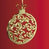 Bożenarodzeniowy balowy złoto Zdjęcia Royalty Free