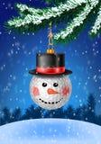 Bożenarodzeniowy bauble na choince z śniegiem na wiecznozielonym royalty ilustracja