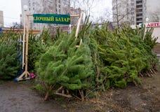 Bożenarodzeniowy bazar w Grudniu w abnormally ciepłej zimie pod nieobecność śniegu fotografia royalty free