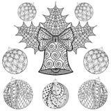 Bożenarodzeniowy Bell z piłkami w zentangle stylu Freehand etniczny Xm royalty ilustracja