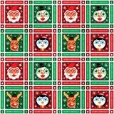Bożenarodzeniowy bezszwowy Święty Mikołaj i przyjaciele Ilustracja Wektor