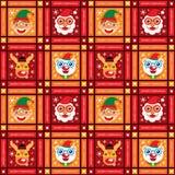 Bożenarodzeniowy bezszwowy Święty Mikołaj i przyjaciele Royalty Ilustracja