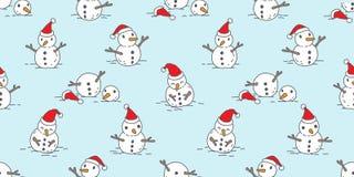 Bożenarodzeniowy bezszwowy deseniowy wektorowy śnieżny szalik odizolowywający bałwanu Święty Mikołaj zimy powtórki płytki Wakacyj ilustracja wektor