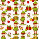 Bożenarodzeniowy bezszwowy tło z elfami kolorowych deseniowych planowanymi różnych możliwych wektora Zdjęcie Stock