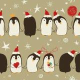 Bożenarodzeniowy Bezszwowy wzór pingwiny royalty ilustracja