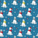 Bożenarodzeniowy bezszwowy wzór z białym niedźwiedziem polarnym w szaliku, płatek śniegu i gila ptaku odizolowywającym na zimnych ilustracja wektor