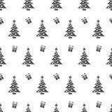 Bożenarodzeniowy bezszwowy wzór z czarnymi prezentami i drzewami na białym tle Fotografia Royalty Free