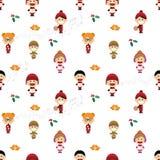 Bożenarodzeniowy bezszwowy wzór z dziećmi śpiewa kolęda Zdjęcie Stock