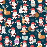 Bożenarodzeniowy bezszwowy wzór z Santa Claus, renifer, niedźwiedź i prezenty, ilustracja wektor