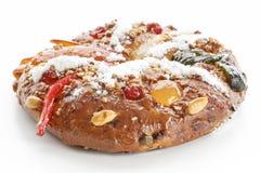 Bożenarodzeniowy Bolo Reja lub królewiątko tort Nad bielem Fotografia Royalty Free