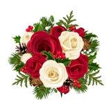 Bożenarodzeniowy bukiet z różami. ilustracja wektor