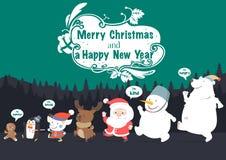 Bożenarodzeniowy charakteru i nowego roku wektoru kartka z pozdrowieniami ilustracja wektor