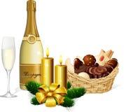 Bożenarodzeniowy ciastko i szampan Fotografia Royalty Free