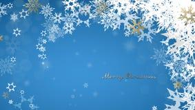 Bożenarodzeniowy ciemny tło z złotym - biali płatki śniegu Zdjęcia Stock