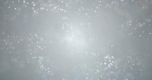 Bożenarodzeniowy cyfrowy błyskotliwość iskier srebra koloru cząsteczek bokeh spływanie na srebnym tle, wakacje xmas świąteczny sz zdjęcie wideo