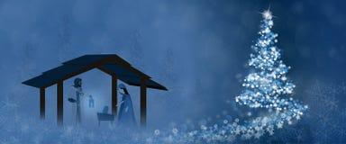 Bożenarodzeniowy czas - narodzenie jezusa scena ilustracja wektor