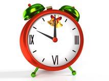 Bożenarodzeniowy czasu budzik na białym tle Zdjęcia Stock