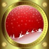Bożenarodzeniowy czerwony projekt z złoto ramą Zdjęcia Royalty Free