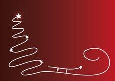 Bożenarodzeniowy czerwony tło z sylwetką i błyszczącymi gwiazdami prostą drzewa, Santa sania, Oryginalna kartka bożonarodzeniowa  Obraz Royalty Free